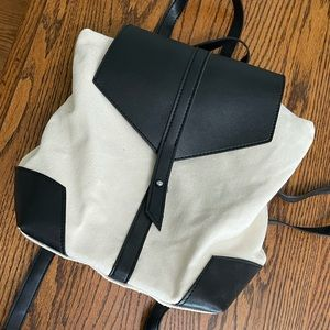 Deux Lux canvas/black vegan leather backpack